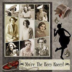 I like the creative layout; nice way to showcase a series of photos Good for & Art Deco period Heritage Scrapbook Pages, Vintage Scrapbook, Scrapbook Journal, Scrapbook Sketches, Scrapbook Page Layouts, Scrapbook Cards, Family History Book, Digital Scrapbooking, Scrapbooking Ideas