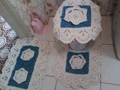 Conjunto para Banheiro de Crochê no Barbante c/ 3 Peças