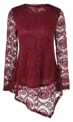 Openwork Sleeve Asymmetrical Lace Blouse
