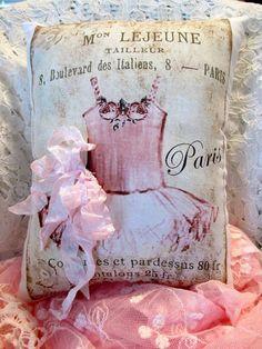 FRENCH Ballerina PILLOW French Script Ballerina by ThePeonyShanty