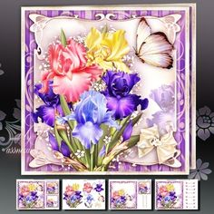 Iris Bouquet Card Mini Kit on Craftsuprint designed by Atlic Snezana - Iris Bouquet Card Mini Kit: 4 sheets for print with decoupage for 3D effect plus few sentiment tags (for your own personal text) - Now available for download!