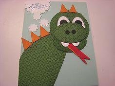 Stampin Up Card Handmade Happy Birthday Dragon