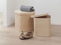 Italian Handmade Lidded Beech Wood Storage Boxes
