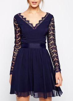 Enchanting Hollow Design Long Sleeve Mini Dress Navy   Rosewe.com