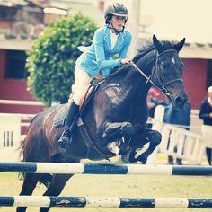 Vertical. Salto ecuestre caballo bruno cocurso casaca azul. Jinete María José Camacho liga ecuestre Bogotá