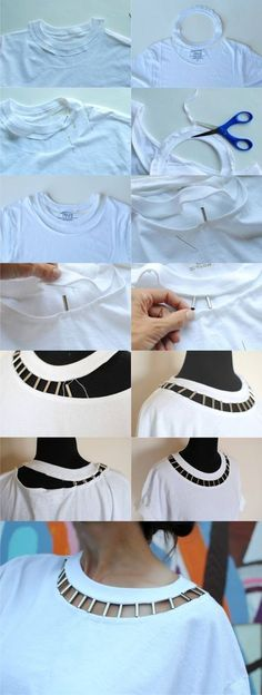 Edge up the basic tee with this simple DIY Cut Out neckline I designed with cylinder beads DIY tutorial below: diy kleidung DIY: Beaded Cut Out Tshirt Diy Clothing, Sewing Clothes, Clothes Dye, Up Cycle Clothes, Trash To Couture, Diy Kleidung, Diy Vetement, Diy Mode, Diy Clothes Videos