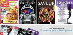 Amazon Prime Members: Three FREE 4-Month Magazine Subscriptions (Taste of Home & More)
