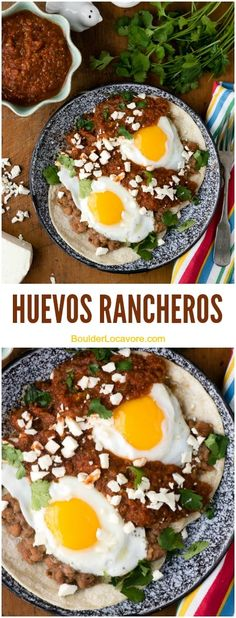 An authentic Mexican Huevos Rancheros recipe made with fresh, spicy sauce, smashed pinto beans, fried eggs and corn tortillas. Mexican Brunch, Mexican Breakfast Recipes, Mexican Dishes, Brunch Recipes, Mexican Food Recipes, Authentic Mexican Recipes, Mexican Meat, Mexican Night, Mexican Desserts