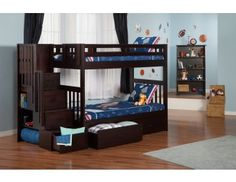 Cascade Staircase Bunk Bed - Twin Over Full Bunk Beds - Bunk Beds - Bunks & Beds Childrens Bunk Beds, Bunk Beds Boys, Futon Bunk Bed, Bunk Bed Plans, Bunk Bed With Trundle, Kid Beds, Loft Beds, Cheap Bunk Beds, Bunk Beds With Storage