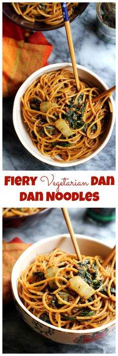 Whether you're celebrating Chinese New Year or just craving a take-out favorite, these spiced up vegetarian dan dan noodles will hit the spot