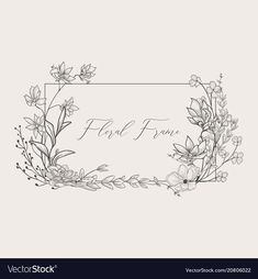 Delicate floristic geometric frame vector image on VectorStock Illustration Simple, Floral Illustrations, Hand Embroidery Patterns, Embroidery Art, Florist Logo, Drawing Frames, Wreath Drawing, Hand Drawn Flowers, Floral Border