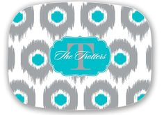 Personalized+Melamine+Platter+Ikat+Choice+by+LoveyDoveyCreations,+$28.00