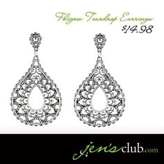 "Filigree Teardrop Earrings From Regal.  Grace your ears with beautiful teardrop earrings in an elegant filigree design. Post-style metal earrings have a polished silver-tone finish. (2-1/2""L x 1-1/2""W) Product Number - JC1037"
