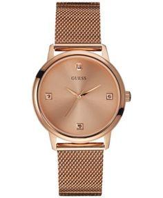 GUESS Men s Diamond Accent Rose Gold-Tone Mesh Bracelet Watch 40mm U0280G2  Jewelry   Watches - Watches - Macy s 4ec96c490ed