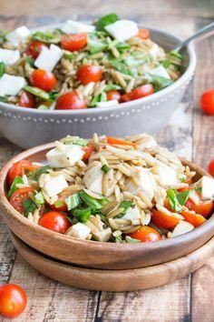 Caprese Orzo Salad with Light Balsamic Vinaigrette