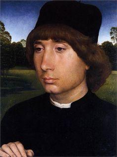 Portrait of a Young Man before a Landscape. Hans Memling c.1480
