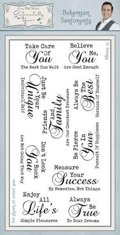 Send encouraging words to a friend with a card made using the Bohemian Sentiments Stamp set from the Sentimentally Yours Collection by Creative Expressions. Make Design, Digi Stamps, Not Good Enough, Words Of Encouragement, Clear Stamps, Take Care Of Yourself, Verses, Card Making, Bohemian