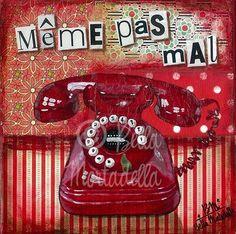 """Même pas mal"" , affiche poster impression illustration telephone vintage : Imprimés par bella-mortadella"