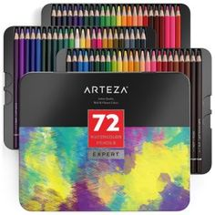Arteza Professional Colored Pencils Set of 72 Colors Soft Wax-Based Cores Ideal for Drawing Art Sketching Shading & Coloring Vibrant Artist Pencils in Tin Box Watercolor Effects, Watercolor Pencils, Watercolors, Watercolor Cards, Pencil Drawing Tutorials, Pencil Drawings, Pencil Art, Adult Coloring, Coloring Books
