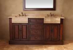 """Boston 72"""" Double Sink Bathroom Vanity Cabinet - Cherry Finish - For a modern look with crisp lines and bold thickness, the Boston collection adds depth to any bathroom space. This collection offers the perfect marriage of a timeless look with an added flair. The gold travertine tops on this collection create a pop of color that captivates attention without distracting from the vanity. Choose between cherry or black finish and indulge in the timeless hardware."""