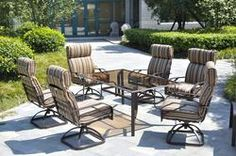Backyard Creations 7-Piece Branson Dining Collection chairs were very comfortable more so than that 5 piece set for $249, currently on sale for $499 until 7-13, not wild about the boring brown stripe cushions....