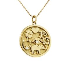 Jennifer Meyer Good Luck Charm Necklace - Yellow Gold ($3,950) ❤ liked on Polyvore featuring jewelry, necklaces, gold heart charm, heart pendant necklace, pendant necklaces, chain necklace and gold elephant necklace