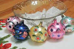 Vintage Poland Christmas Glass Ornaments Set by PattysPorcelainEtc, $29.00