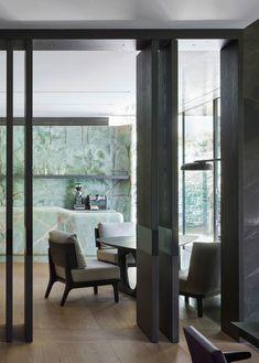 Green Onyx kitchen in an Interior architecture project in Munich by Studio Liaigre Cedar Paneling, Christian Liaigre, Green Onyx, Architectural Digest, Design Firms, White Walls, Interior Architecture, Sustainable Architecture, Furniture Design