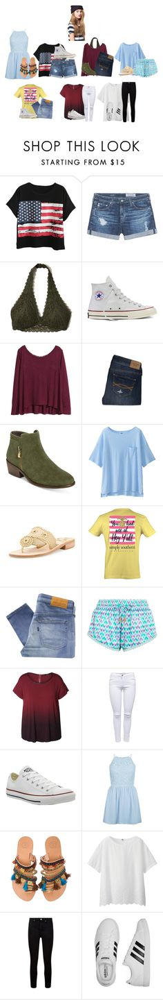 """""""Aspens week"""" by my-little-big-family ❤ liked on Polyvore featuring Chicnova Fashion, AG Adriano Goldschmied, Hollister Co., Converse, H&M, Abercrombie & Fitch, Aerosoles, Uniqlo, Jack Rogers and Levi's Made & Crafted"""