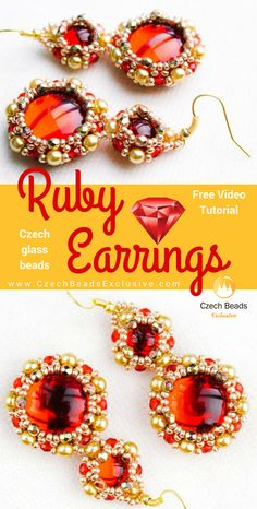 Fire Polished, Pearl Czech Glass Beads and Glass Cabochon Stone - RUBY Earrings Seed Bead Cabochon Bezel Pattern Free Video Tutorial   SAVE it!  www.CzechBeadsExclusive.com #czechbeadsexcluisve #czechbeads
