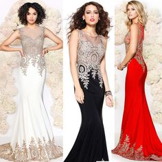 Cheap dresses with lace, Buy Quality lace evening dress directly from China dress lace chiffon Suppliers: Hot Sale Lady Scoop Floor Length See Through Back Party Lycra Polyester Formal Red Black Beaded Mermaid Evening Dresses