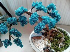 Arbre en perle , bonsaï bead  , 3 ème réalisation DIY ...