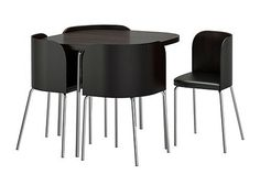 Great design. The four chairs fits perfectly on the rounded corners, so they take up no space when not used!