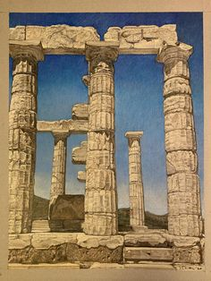 A initial color study. The south colonnade of the Temple of Poseidon at Cape Sounion, Attiki, Greece. Prismacolor pencil on gray tone paper