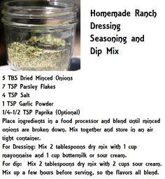 Homemade Ranch Dressing Seasoning and Dip Mix