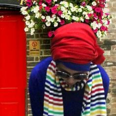 Hijab red and blue and colourfull