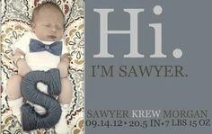 Sawyer krew newborn announcement