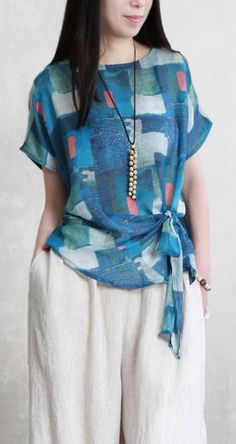 Organic o neck tie waist linen top Cotton blue print top summer Modest Fashion, Fashion Dresses, Elegant Outfit, Casual Tops, Chic Outfits, Fashionable Outfits, Blouse Designs, Blouses For Women, Clothes