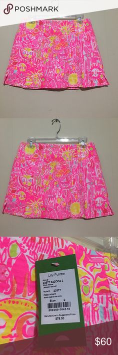 Lilly Pulitzer Pink Pout January skort size 2 Lilly Pulitzer Pink Pout January skort size 2 more kinis in the keys, sun print, front pockets with short bottom underneath Lilly Pulitzer Skirts Mini