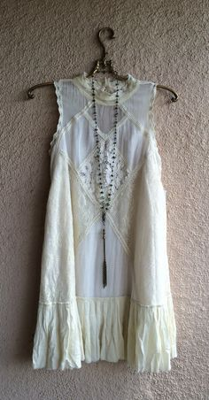 Image of Free People Victorian Ivory Bohemian high neck lace and crochet ruffle dress