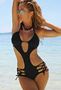e2f20a9c598 Black Strappy Crisscross Cut out Maillot. Forever Young SwimwearFloral One  Piece SwimsuitWomen's One Piece SwimsuitsWomen ...