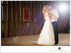 First dance at outdoor summer purple and orange farm wedding at Riverside on the Potomac in Leesburg, Virginia