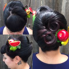 Fruity Vintage Updo! Style by Katey McMuffin #vintageupdos #vintagehair #fruityhair #60svintagedo #50svintagedo