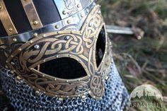Viking Combat Helmet Valsgarde :: by medieval store ArmStreet Combat Helmet, Helmet Armor, Airsoft Helmet, Viking Armor, Viking Helmet, Elmo, Viking Cosplay, Viking Life, Pauldron