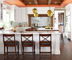 Color Above - To make a small kitchen live larger, paint the ceiling one or two shades lighter than the walls.