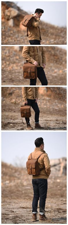Handmade Leather Backpack Messenger Shoulder Bag Crossbody Bag Handbag for Men in Vintage Brown 6963