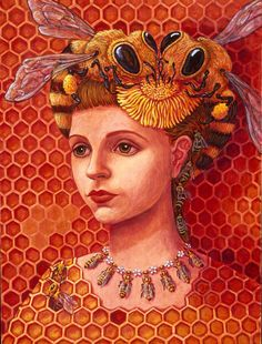 Lea Bradovich - Princess Bee x acrylic gouache on panel Illustrations, Illustration Art, Buzz Bee, I Love Bees, Bee Art, Bee Design, Bee Happy, Bees Knees, Photoshop