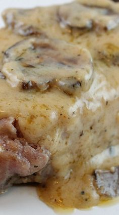 Garlic Butter & Mushrooms Baked Pork Chop ~ Easy pork chops with a flavorful butter sauce that compliments the meal perfectly. Needs a little more flavor like garlic, butter, or salt but would try again. Think Food, I Love Food, Good Food, Pork Recipes, Cooking Recipes, Recipies, Easy Pork Chop Recipes, Dinner Recipes With Pork Chops, Cooking Tips