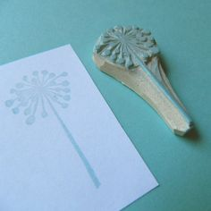 wishful thinking dandelion-hand carved rubber stamp