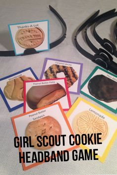 girl scout cookie headband game - tape pictures to girls' backs instead of headbands Girl Scout Daisy Activities, Girl Scout Crafts, Girl Scout Cookie Sales, Girl Scout Cookies, Girl Scout Leader, Girl Scout Troop, Scout Mom, Gs Cookies, Cookies Et Biscuits